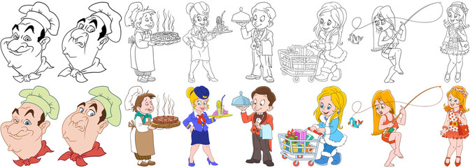 Cartoon working people set. Collection of professions. Chef, cook with a pizza, stewardess, waiter with a tray, shopaholic woman, girl fishing, fashion lady. Coloring book pages for kids.