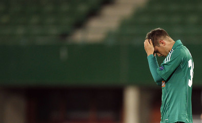 SK Rapid Wien's Alar reacts after losing  their Europa League Group K soccer match against Rosenborg BK in Vienna