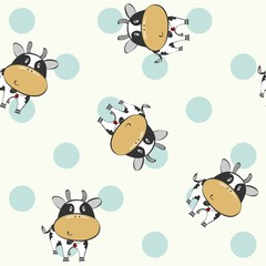 vector art seamless pattern with cartoon cows.