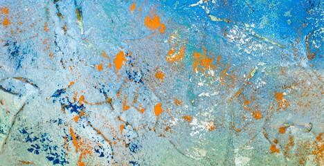 Hintergrund in Blau mit bunten Bereichen auf Leinwand, Acryl-Struktur-Gel und Gouache-Farbe