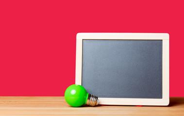 blackboard and bulb