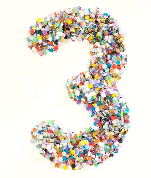 Confetti alphabet - number 3 - three