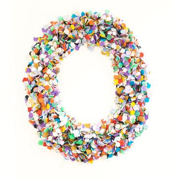 Confetti alphabet - number 0 - zero