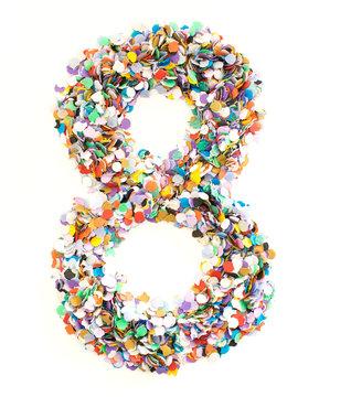 Confetti alphabet - number 8 - eight