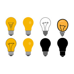 Halogen lamps package in different styles. Classical light bulb, outlines, silhouette and abstract lamps set. Vector illustration.