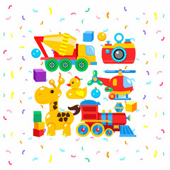 A set of children's toys, vector illustration. Including the camera, mixer, helicopter, giraffe, blocks, a duck, a locomotive.