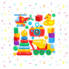 Set of colorful vector children's toys. Including car mixer, duck, pyramid, camera, cubes, helicopter.