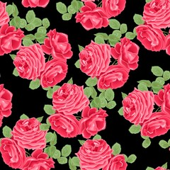 Seamless floral pattern with red roses on black background. Vector illustration.