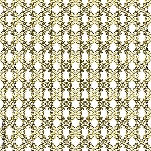 Pattern Floral Nero E Oro Su Sfondo Bianco Stock Photo And Royalty