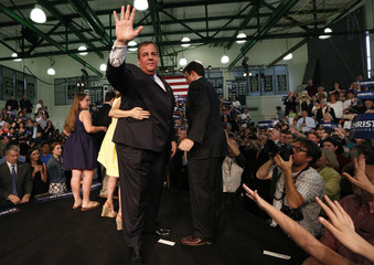 Republican U.S. presidential candidate and New Jersey Governor Chris Christie waves after formally announcing his campaign for the 2016 Republican presidential nomination during a kickoff rally at Livingston High School in Livingston