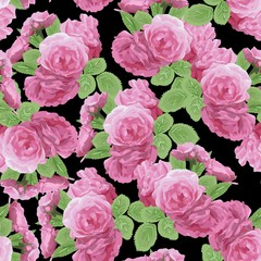 Seamless floral pattern with pink roses on black background. Vector illustration.