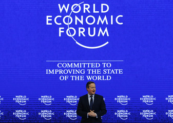 "British Prime Minister Cameron addresses the attendees during the session ""Britain in the World"" during the Annual Meeting of the WEF in Davos"
