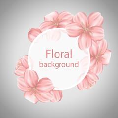 Cherry flower sakura wreath with round transparent frame. Spring or summer design for invitation, wedding or greeting cards.