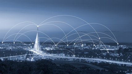 Modern internet web network all over the city
