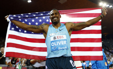 Olivier of the U.S. celebrates after winning the men's 110 metres hurdles race during the Weltklasse Diamond League athletics meeting in Zurich