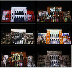 Combination picture shows various 3D mapping projections on facade of National Library during the opening ceremony in Sarajevo
