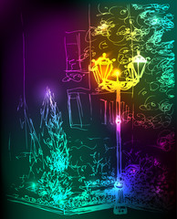 Magic neon street at night. Street lamp, house, trees and bushes. Vector greeting card, illustration, invitation, poster, cover
