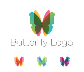 Butterfly wings logo set. Design elements in a variety of overlay colors with placeholder text. Vector spa, salon, fashion, health and beauty logotype.