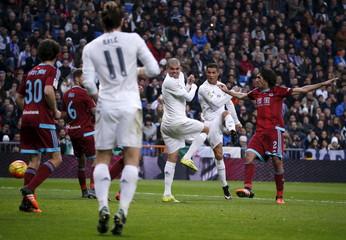 Real Madrid's Cristiano Ronaldo scores his second goal