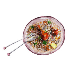 The Indian chicken biryani dish with fork and spoon isolated on white background, watercolor illustration in hand-drawn style.