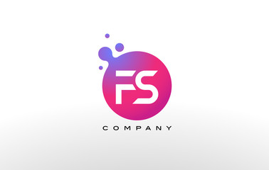FS Letter Dots Logo Design with Creative Trendy Bubbles.