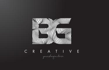 BG B G Letter Logo with Zebra Lines Texture Design Vector.