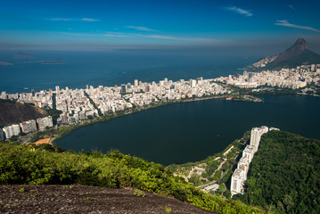 Beautiful Aerial View of Rodrigo de Freitas Lagoon, and Ipanema, in Rio de Janeiro, Brazil
