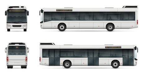 City bus vector template for car branding and advertising. Isolated passenger bus set. All layers and groups well organized for easy editing and recolor. View from left and right side, front, back.
