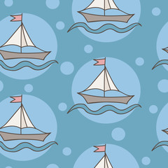 Seamless pattern with colorful ship with flag and wave on blue background