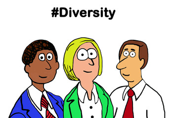 Business cartoon illustration showing a diverse group of business people and the word '#diversity'.