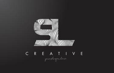 SL S L Letter Logo with Zebra Lines Texture Design Vector.
