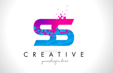 SS S S Letter Logo with Shattered Broken Blue Pink Texture Design Vector.