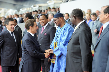 France President Sarkozy and Prime Minister Fillon greet African leaders at Bastille Day ceremonies in Paris