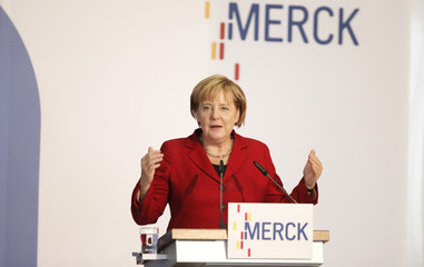German Chancellor Merkel holds a speech on opening of new Material Research Center of the Merck company in Darmstadt