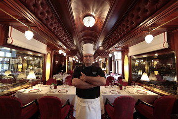 Chef Thierry Saez-Manzanares of France poses in the Train Bleu restaurant at the Casino de Monte Carlo in Monaco