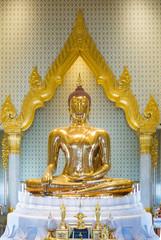 Solid gold Buddha, famous Buddha statue at Wat Traimit, Bangkok, Thailand.