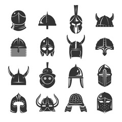 Warrior helmets set of vector icons on white background