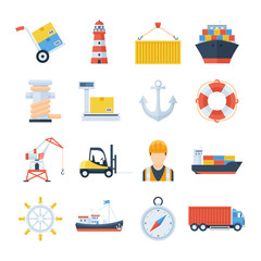 Sea port set of vector icons in a flat style