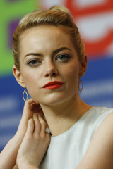 "Emma Stone, voice of character Eep, attends news conference promoting animation movie ""The Croods"" at Berlinale International Film Festival in Berlin"