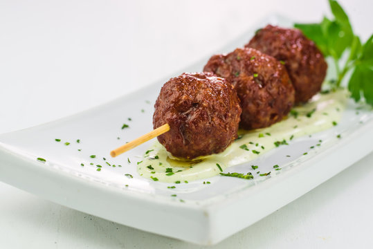 Close-up of grilled meat balls