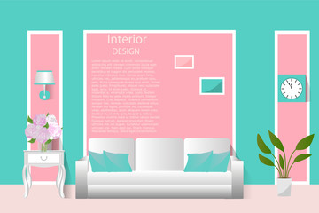 The interior of the living room. Vector illustration. Banner, background, design.