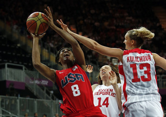 McCoughtry of the U.S. shoots past Czech Republic's Peckova and Kulichova during their women's preliminary round Group A basketball match at the Basketball Arena during the London 2012 Olympic Games