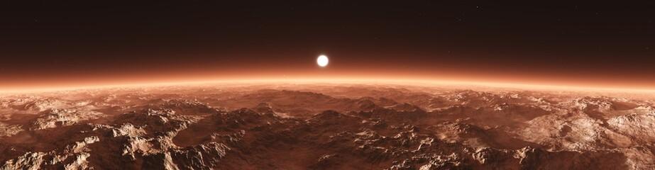 Mars from orbit, panorama of Mars, Marsim landscape, sunrise over Mars, 3D rendering  Wall mural