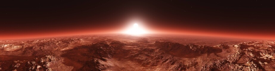 Spoed Fotobehang Bruin Mars from orbit, panorama of Mars, Marsim landscape, sunrise over Mars, 3D rendering