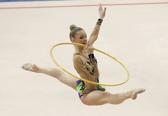 Germany's Jung performs individual qualification programme at the 31st European Rhythmic Gymnastics Championships in Minsk