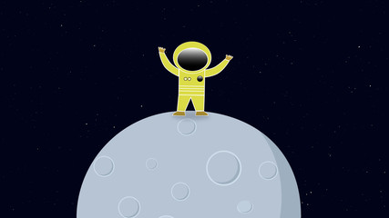 Astronaut in space standing on a moon or planet. Retro cartoon style with flat design. Travel and adventure in cosmos with a rocket.