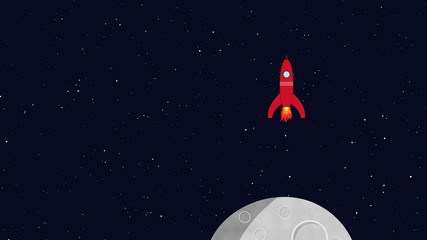Rocket in space landing on a moon or planet. Retro cartoon style with flat design. Travel and adventure in cosmos with a rocketship.