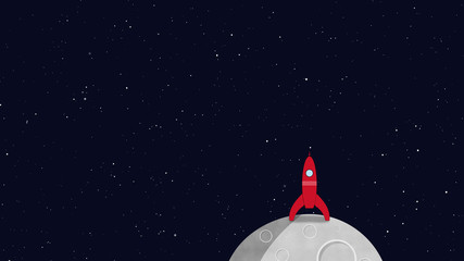 Rocket in space on a moon or planet. Retro cartoon style with flat design. Travel and adventure in cosmos with a rocketship.
