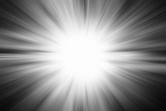 Light burst explosion in black and white