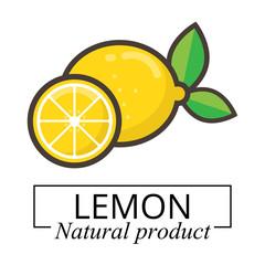 cartoon lemon vector label